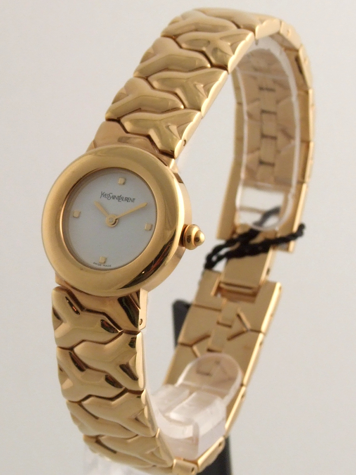 Ysl Yves Saint Laurent Gold Plated Swiss Made Watch Ysl